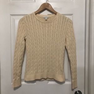 Charter Club Cable Knit Cream Crew Neck Sweater
